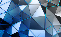 Abstract 3D Rendering of Polygonal Background. Abstract 3d rendering of triangulated surface. Contemporary background. Futuristic polygonal shape. Distorted low Royalty Free Stock Image