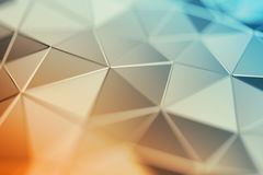 Abstract 3D Rendering of Polygonal Background. Abstract 3d rendering of triangulated surface. Contemporary background. Futuristic polygonal shape. Distorted low Stock Image
