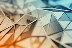 Abstract 3D Rendering of Polygonal Background. Abstract 3d rendering of triangulated surface. Contemporary background. Futuristic polygonal shape. Distorted low Royalty Free Stock Photo