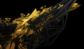 Abstract 3D Rendering of Polygonal Shape. Abstract 3d rendering of chaotic plexus surface. Contemporary background with futuristic polygonal shape. Distorted Stock Photography
