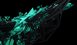 Abstract 3D Rendering of Polygonal Shape. Abstract 3d rendering of chaotic plexus surface. Contemporary background with futuristic polygonal shape. Distorted Royalty Free Stock Image