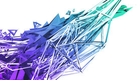 Abstract 3D Rendering of Polygonal Shape. Abstract 3d rendering of chaotic plexus surface. Contemporary background with futuristic polygonal shape. Distorted Royalty Free Stock Photo