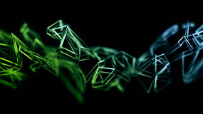 Abstract 3D Rendering of Polygonal Shape. Abstract 3d rendering of chaotic plexus surface. Contemporary background with futuristic polygonal shape. Distorted royalty free illustration