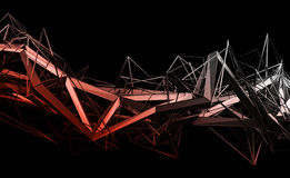 Abstract 3D Rendering of Polygonal Shape. Abstract 3d rendering of chaotic plexus surface. Contemporary background with futuristic polygonal shape. Distorted vector illustration