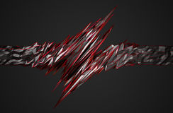 Abstract 3D Rendering of Polygonal Shape. Abstract 3d rendering of chaotic surface. Background with futuristic polygonal shape. Noisy low poly metallic object stock illustration