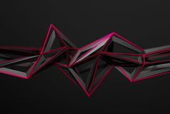 Abstract 3D Rendering of Polygonal Shape. Abstract 3d rendering of chaotic surface. Background with futuristic polygonal shape. Poster with low poly object stock illustration