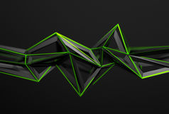 Abstract 3D Rendering of Polygonal Shape. Abstract 3d rendering of chaotic surface. Background with futuristic polygonal shape. Poster with low poly object Stock Photography