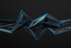 Abstract 3D Rendering of Polygonal Shape. Abstract 3d rendering of chaotic surface. Background with futuristic polygonal shape. Poster with low poly object Royalty Free Stock Images