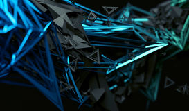 Abstract 3D Rendering of Polygonal Shape. Abstract 3d rendering of chaotic surface. Contemporary background with futuristic polygonal shape. Distorted low poly Stock Photo