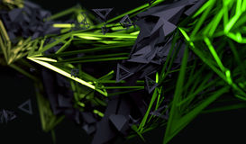 Abstract 3D Rendering of Polygonal Shape. Abstract 3d rendering of chaotic surface. Contemporary background with futuristic polygonal shape. Distorted low poly stock illustration