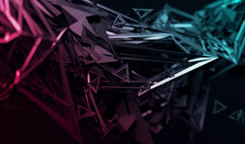 Abstract 3D Rendering of Polygonal Shape. Abstract 3d rendering of chaotic surface. Contemporary background with futuristic polygonal shape. Distorted low poly royalty free illustration