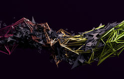 Abstract 3D Rendering of Polygonal Shape. Abstract 3d rendering of chaotic surface. Contemporary background with futuristic polygonal shape. Distorted low poly Stock Images