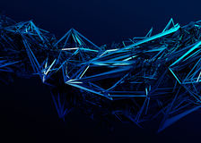 Abstract 3D Rendering of Polygonal Shape. Abstract 3d rendering of chaotic surface. Contemporary background with futuristic polygonal shape. Distorted low poly Royalty Free Stock Photography