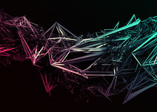 Abstract 3D Rendering of Polygonal Shape. Abstract 3d rendering of chaotic surface. Contemporary background with futuristic polygonal shape. Distorted low poly vector illustration