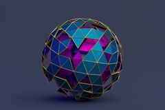 Abstract 3D Rendering of Polygonal Sphere. Geometric shape, futuristic modern background design for poster, cover, branding, banner, placard royalty free illustration