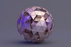 Abstract 3D Rendering of Polygonal Sphere. Geometric shape, futuristic modern background design for poster, cover, branding, banner, placard vector illustration
