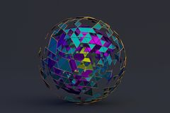 Abstract 3D Rendering of Polygonal Sphere. Geometric shape, futuristic modern background design for poster, cover, branding, banner, placard Stock Illustration