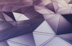 Abstract 3D Rendering of Polygonal Surface. Background with futuristic lines and low poly shape Royalty Free Stock Images