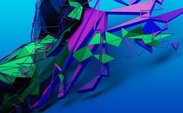Abstract 3D Rendering of Random Shapes stock illustration