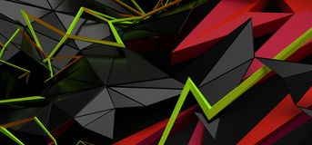 Abstract 3D Rendering of Random Shapes. Abstract 3d rendering of random geometric shapes. Futuristic modern background design for poster, cover, banner, placard stock illustration