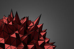 Abstract 3D Rendering of Red Chaotic Surface. Abstract 3d rendering of red chaotic structure. Dark background with wireframe. Futuristic shape Royalty Free Stock Image