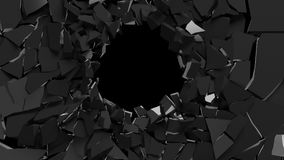 Abstract 3d rendering of shattered black surface. destructed wal Royalty Free Stock Images