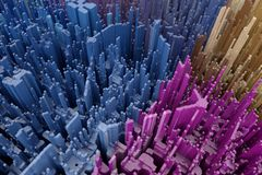 Abstract 3d rendering skyscrapers city. Dynamic background.  vector illustration