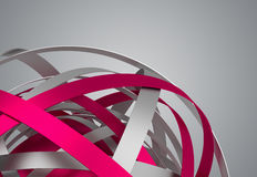 Abstract 3D Rendering of Sphere with Rings. Royalty Free Stock Images