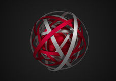 Abstract 3D Rendering of Sphere with Rings. Royalty Free Stock Photos