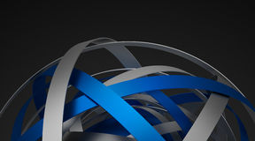 Abstract 3D Rendering of Sphere with Rings. Royalty Free Stock Photo