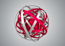 Abstract 3D Rendering of Sphere with Rings. Royalty Free Stock Image