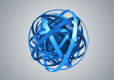 Abstract 3D Rendering of Sphere with Rings. Royalty Free Stock Photography