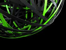Futuristic sphere of black and green rings. Abstract 3d rendering of sphere with rings in empty space. Futuristic shape. Surreal background stock illustration