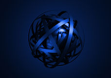 Abstract 3D Rendering of Sphere with Rings. Stock Photo
