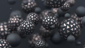 Abstract 3D Rendering of Spheres. Abstract 3d rendering of geometric shapes. Modern composition. Background design with spheres for poster, cover, branding Vector Illustration