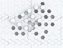 Abstract 3d rendering structure with hexagons.  Royalty Free Stock Images