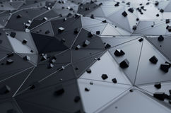 Abstract 3d rendering of surface with chaotic. Cubes. Background with futuristic lines and low poly shape Stock Photos