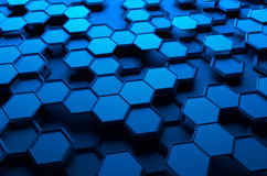 Abstract 3D Rendering of Surface with Hexagons. Abstract 3d rendering of futuristic surface with hexagons. Blue sci-fi background Stock Photos