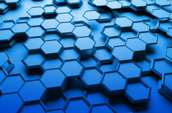 Abstract 3D Rendering of Surface with Hexagons. Abstract 3d rendering of futuristic surface with hexagons. Blue sci-fi background Stock Photo