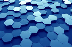 Abstract 3D Rendering of Surface with Hexagons. Abstract 3d rendering of futuristic surface with hexagons. Blue sci-fi background Stock Photography