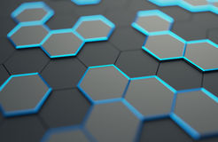 Abstract 3D Rendering of Surface with Hexagons. Abstract 3d rendering of futuristic surface with hexagons. Contemporary sci-fi background with bokeh effect Royalty Free Illustration