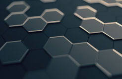 Abstract 3D Rendering of Surface with Hexagons. Royalty Free Stock Photos