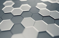Abstract 3D Rendering of Surface with Hexagons. Stock Photography