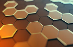 Abstract 3D Rendering of Surface with Hexagons. Stock Image
