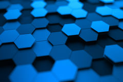 Abstract 3D Rendering of Surface with Hexagons. Royalty Free Stock Photo