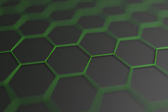 Abstract 3D Rendering of Surface with Hexagons. Abstract 3d rendering of futuristic surface with hexagons. Contemporary sci-fi background with bokeh effect Royalty Free Stock Image