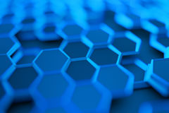 Abstract 3D Rendering of Surface with Hexagons. Royalty Free Stock Images