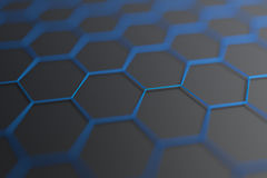 Abstract 3D Rendering of Surface with Hexagons. Stock Images