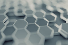 Abstract 3D Rendering of Surface with Hexagons. Stock Photo
