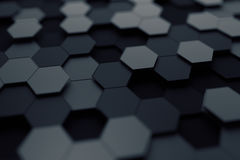 Abstract 3D Rendering of Surface with Hexagons. Royalty Free Stock Image